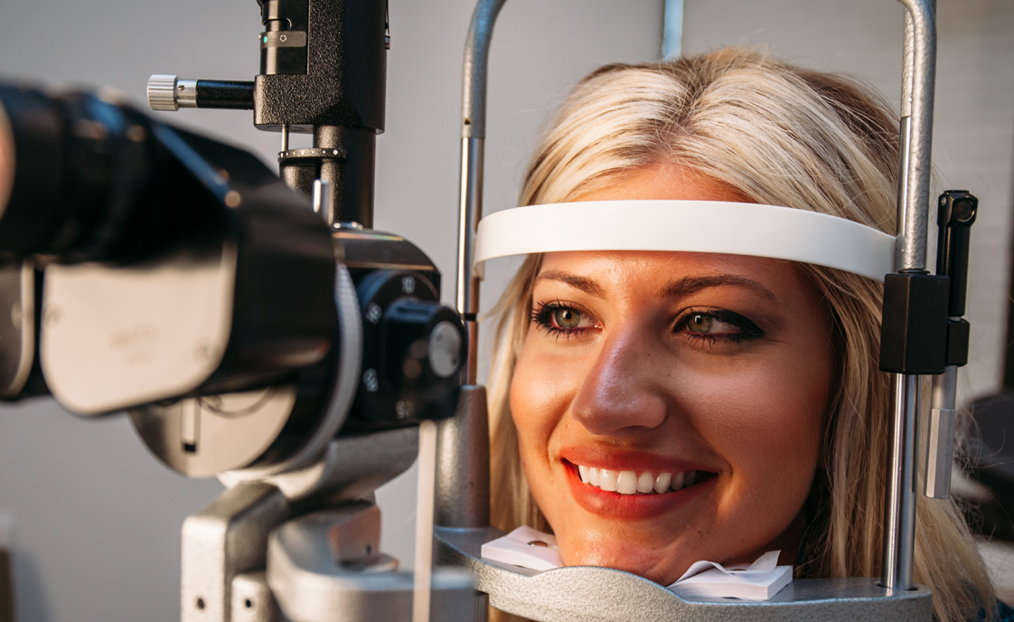 Woman in eye examiination