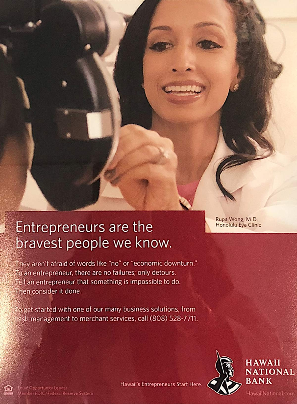 Hawaii National bank ad featuring Dr Rupa Wong